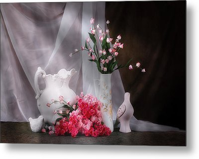 Still Life With Flowers And Birds Metal Print by Tom Mc Nemar
