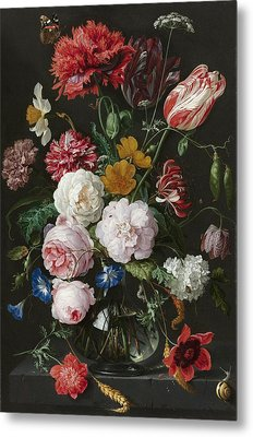 Still Life With Fowers In Glass Vase Metal Print