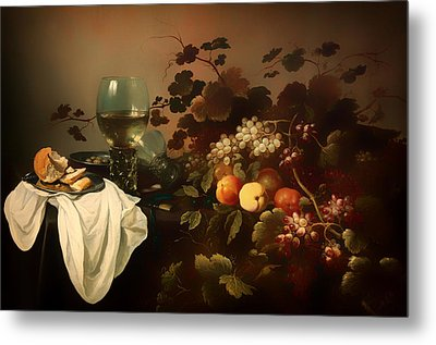 Still Life With Fruit And Roemer Metal Print