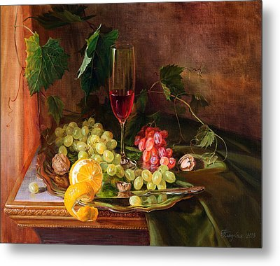 Still Life With Grapes And Grapevine Metal Print