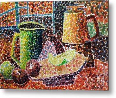 Still Life With Green Jug Painting Metal Print by Caroline Street