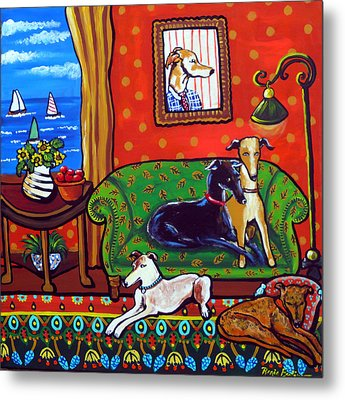 Still Life With Greyhounds Metal Print by Renie Britenbucher