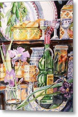 Still Life With Irises Metal Print by Trudi Doyle