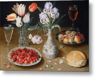 Still Life With Lilies, Roses, Tulips, Cherries And Wild Strawberries Metal Print