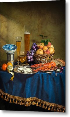 Still Life With Lobster Fruits And Great Salt Metal Print