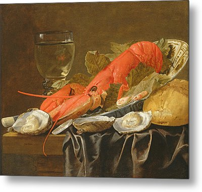 Still Life With Lobster, Shrimp, Roemer, Oysters And Bread Oil On Copper Metal Print by Christiaan Luykx or Luycks