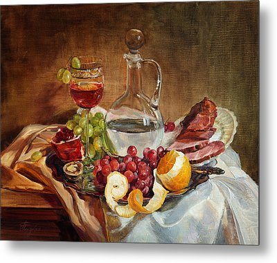Still Life With Meat And Wine Metal Print
