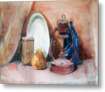 Still Life With Miners Lamp Metal Print by Greta Corens