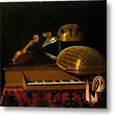 Still Life With Musical Instruments And Books Metal Print by Bartolomeo Bettera