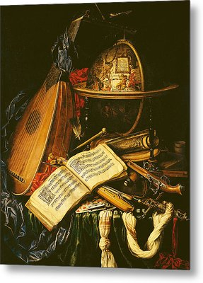 Still Life With Musical Instruments Oil On Canvas Metal Print by Flemish School