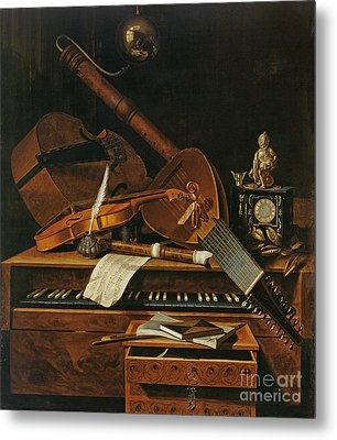 Still Life With Musical Instruments Metal Print by Pieter Gerritsz van Roestraten