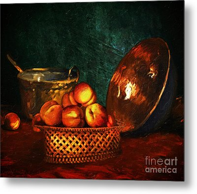 Metal Print featuring the digital art Still Life With Peaches And Copper Bowl by Lianne Schneider