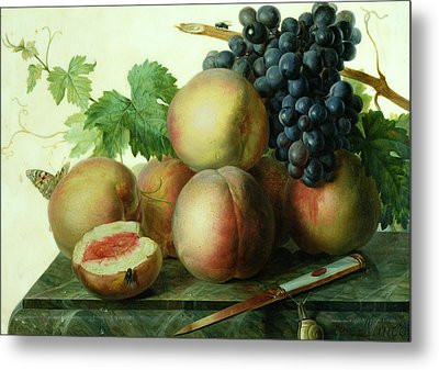 Still Life With Peaches And Grapes On Marble Metal Print by Jan Frans van Dael