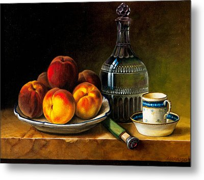 Still Life With Peaches Metal Print by Bernadette Harrison