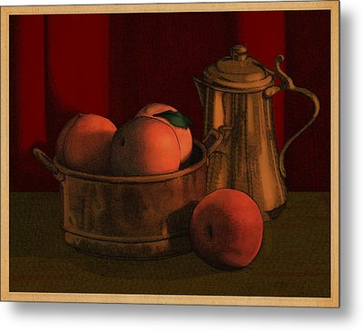 Still Life With Peaches Metal Print by Meg Shearer