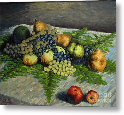 Still Life With Pears And Grapes Metal Print