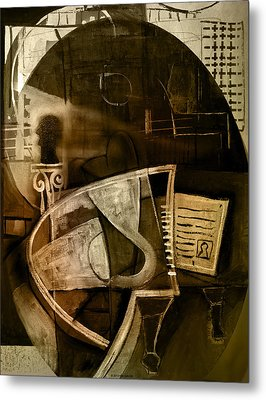Still Life With Piano And Bust Metal Print by Kim Gauge