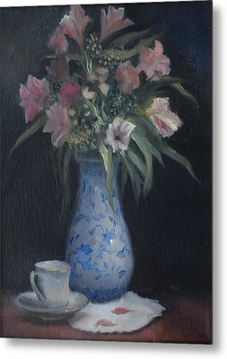 Still Life With Pink Flowers Metal Print by Alla Parsons