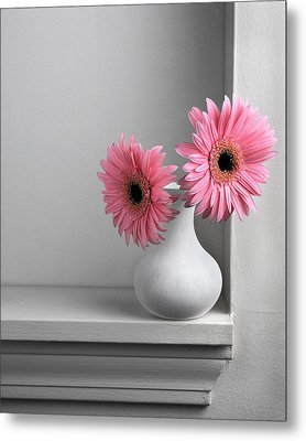 Metal Print featuring the photograph Still Life With Pink Gerberas by Krasimir Tolev