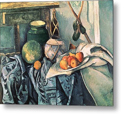 Still Life With Pitcher And Aubergines Oil On Canvas Metal Print by Paul Cezanne