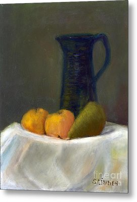 Metal Print featuring the painting Still Life With Pitcher And Fruit by Sandy Linden