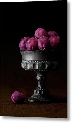 Still Life With Plums Metal Print by Tom Mc Nemar