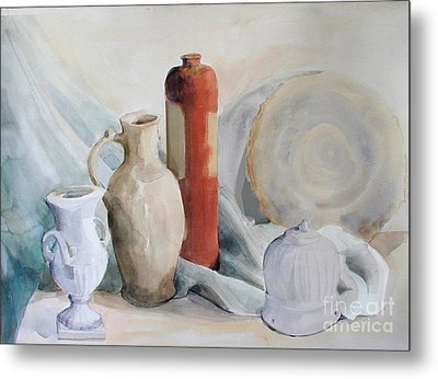 Still Life With Pottery And Stone Metal Print by Greta Corens