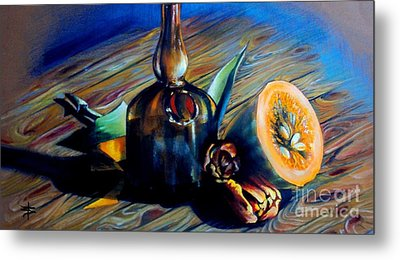 Still Life With Pumpkin And Tulips Metal Print by Alessandra Andrisani