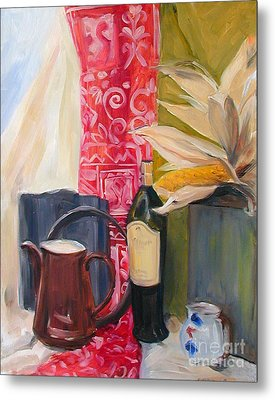 Still Life With Red Cloth And Pottery Metal Print by Greta Corens