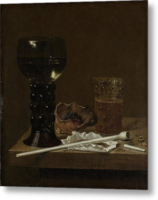 Still Life With Roemer, Beer Glass And A Pipe Metal Print