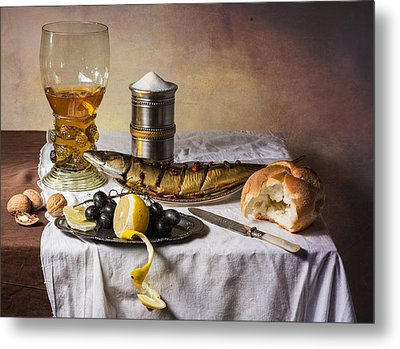 Still Life With Roemer-great Salt-fish And Bread Metal Print by Levin Rodriguez