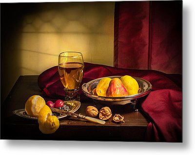 Still Life With Roemer-pears Metal Print by Levin Rodriguez