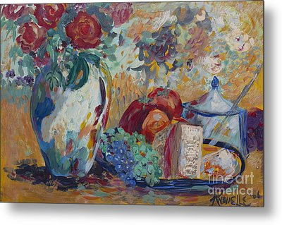 Still Life With Roses Metal Print by Avonelle Kelsey