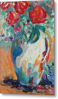 Metal Print featuring the painting Still Life With Roses Partial View by Avonelle Kelsey