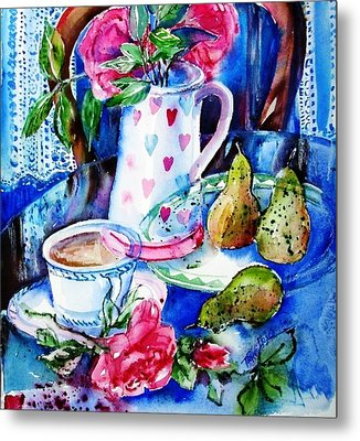 Still Life With Roses  Metal Print by Trudi Doyle