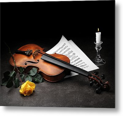 Metal Print featuring the photograph Still Life With Violin by Krasimir Tolev