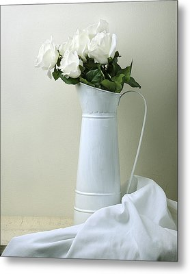 Metal Print featuring the photograph Still Life With White Roses by Krasimir Tolev