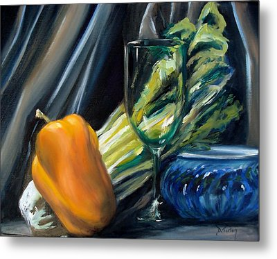 Still Life With Yellow Pepper Bok Choy Glass And Dish Metal Print by Donna Tuten