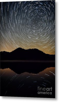 Still Water Star Trails Metal Print by Anthony Heflin