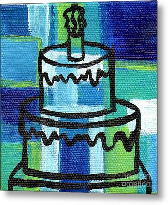 Stl250 Birthday Cake Blue And Green Small Abstract Metal Print