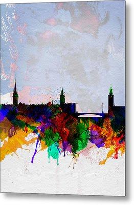 Stockholm Watercolor Skyline Metal Print by Naxart Studio