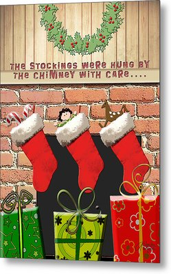 Stockings Were Hung With Care Metal Print