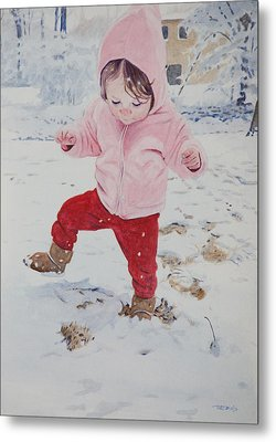 Stomping In The Snow Metal Print