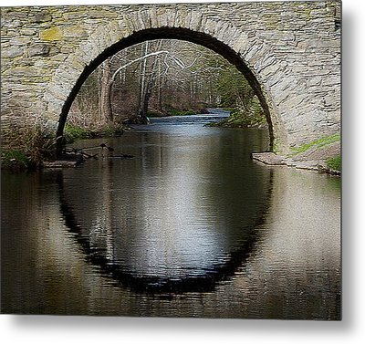 Stone Arch Bridge - Craquelure Texture Metal Print