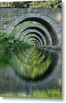 Stone Arch Bridge Over Troubled Waters - 1st Place Winner Faa Optical Illusions 2-26-2012 Metal Print by EricaMaxine  Price
