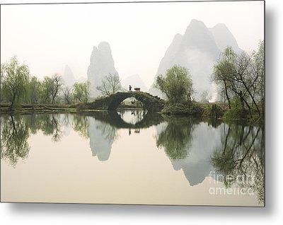 Stone Bridge In Guangxi Province China Metal Print