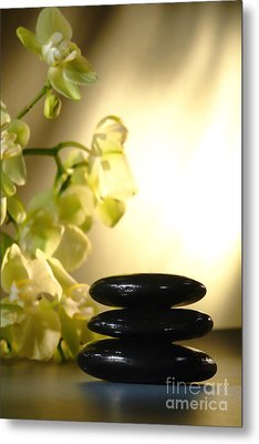 Stone Cairn And Orchids Metal Print
