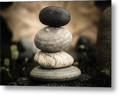 Stone Cairns I Metal Print