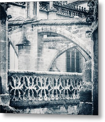 Stone Church Arches In Blue Metal Print by Angela Bonilla