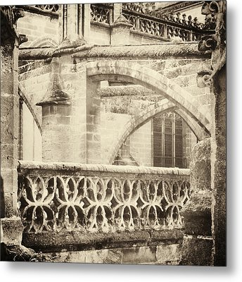 Stone Church Arches In Gold Metal Print by Angela Bonilla